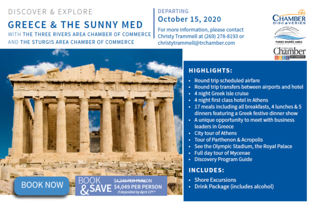 If you love to explore and miss getting out I have good news for you! The Greece trip is still on, departing October 15, 2020. Join us for a Zoom informational meeting Topic: Greece Informational Meeting Date/Time: Jun 24, 2020 12:00 PM https://zoom.us/j/91816190474